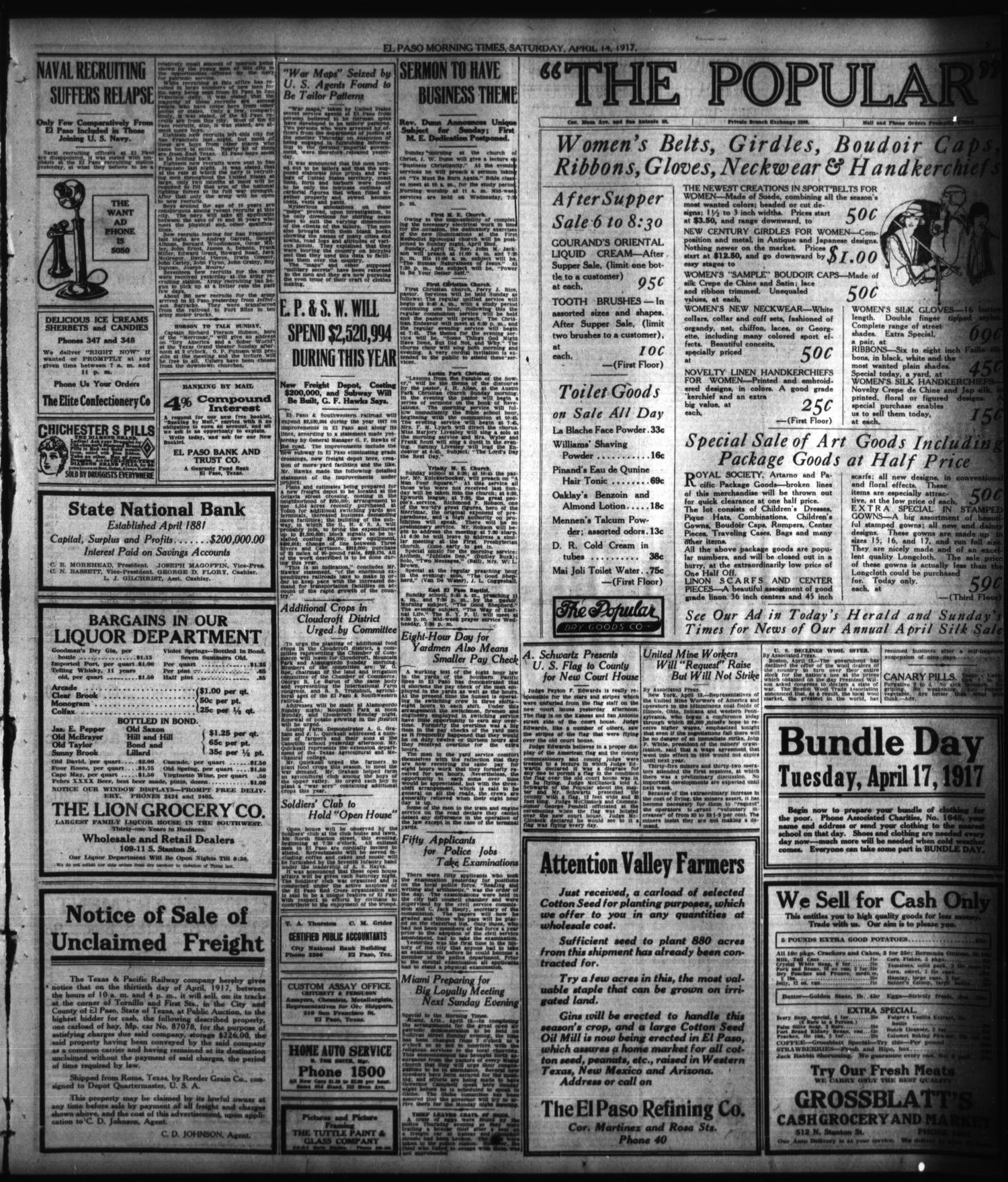 El Paso Morning Times El Paso Tex Vol 37th Year Ed 1