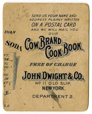 Primary view of object titled '[Advertisement for Dwight's Cow Brand Soda Cook Book]'.