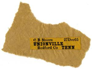 Primary view of object titled '[Address label for C. B. Moore, December 27, 1865]'.