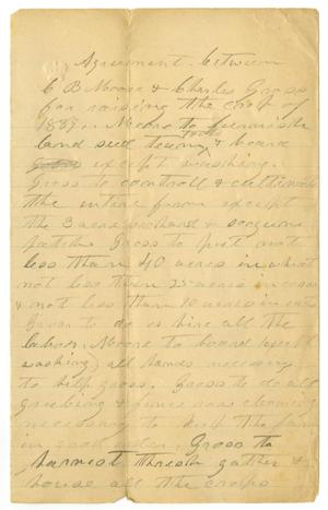[Agreement between C. B. Moore and Charles Gnope, 1889]