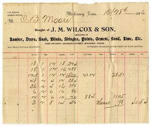 [Bill from J. M. Wilcox & Son, October 8, 1896]