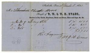 Primary view of object titled '[Receipt from T. W. and W. H. Evans to Charles Moore, September 8, 1852]'.