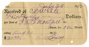 Primary view of object titled '[Receipt, July 25, 1912]'.
