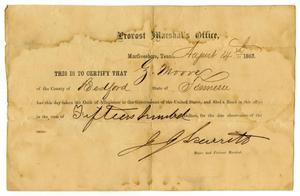 Primary view of object titled '[Certificate of Allegiance for Ziza Moore, August 14, 1863]'.