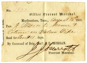 [Military Pass for Ziza Moore, August 14, 1863]
