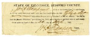 Primary view of object titled '[Certificate of right to vote in Bedford County for Ziza Moore, March 26, 1866]'.