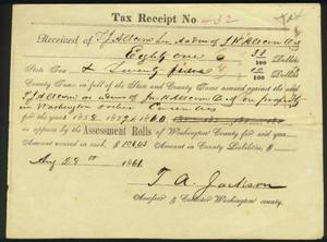 Primary view of object titled 'Tax receipt dated August 28, 1861.'.