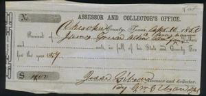 Primary view of object titled 'Tax receipt dated April 10, 1860.'.