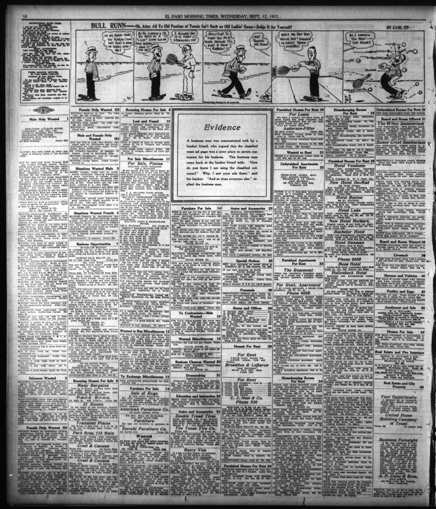 El Paso Morning Times (El Paso, Tex.), Vol. 38TH YEAR, Ed. 1, Wednesday, September 12, 1917                                                                                                      [Sequence #]: 10 of 12