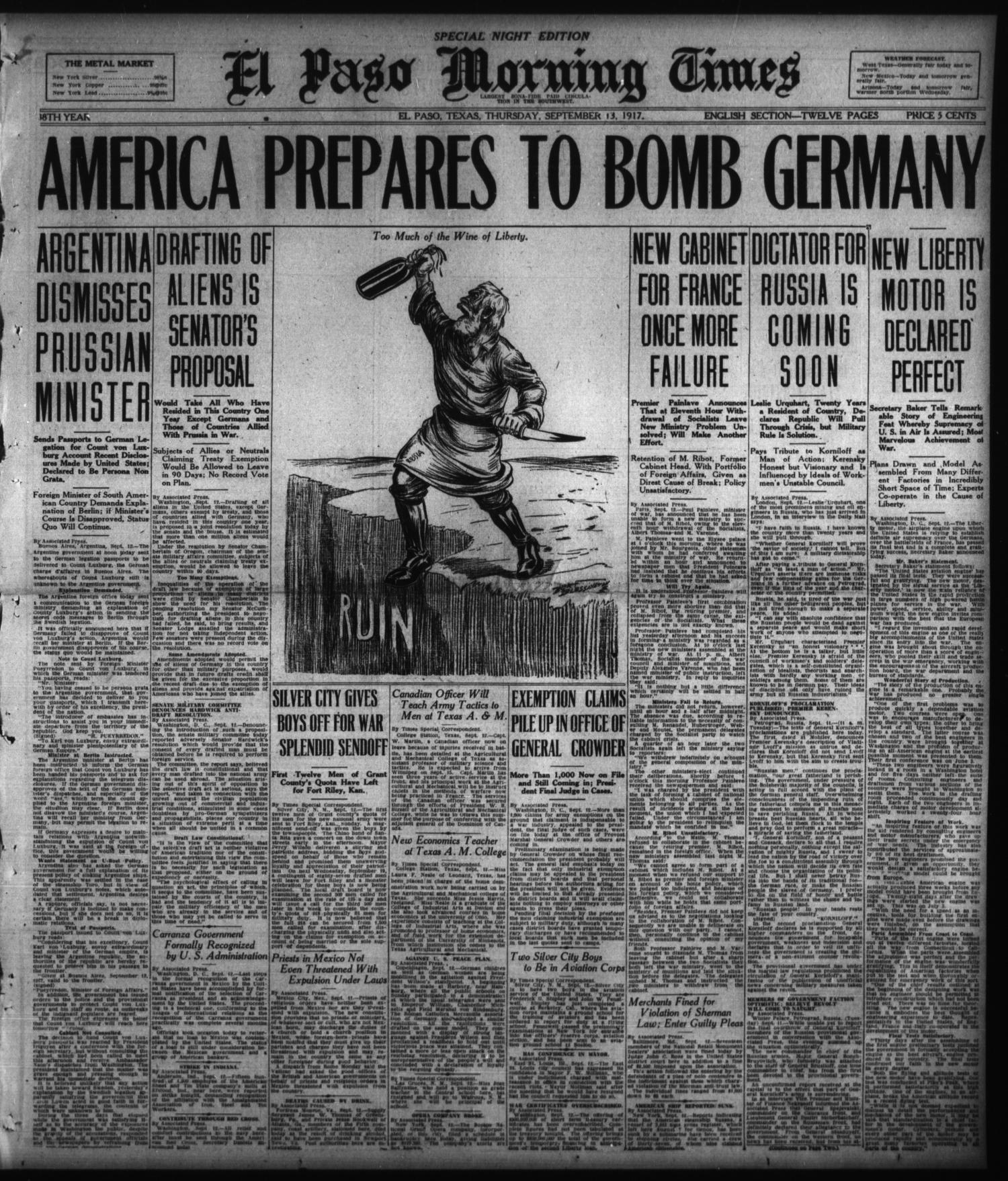 El Paso Morning Times (El Paso, Tex.), Vol. 38TH YEAR, Ed. 2, Thursday, September 13, 1917                                                                                                      [Sequence #]: 1 of 12