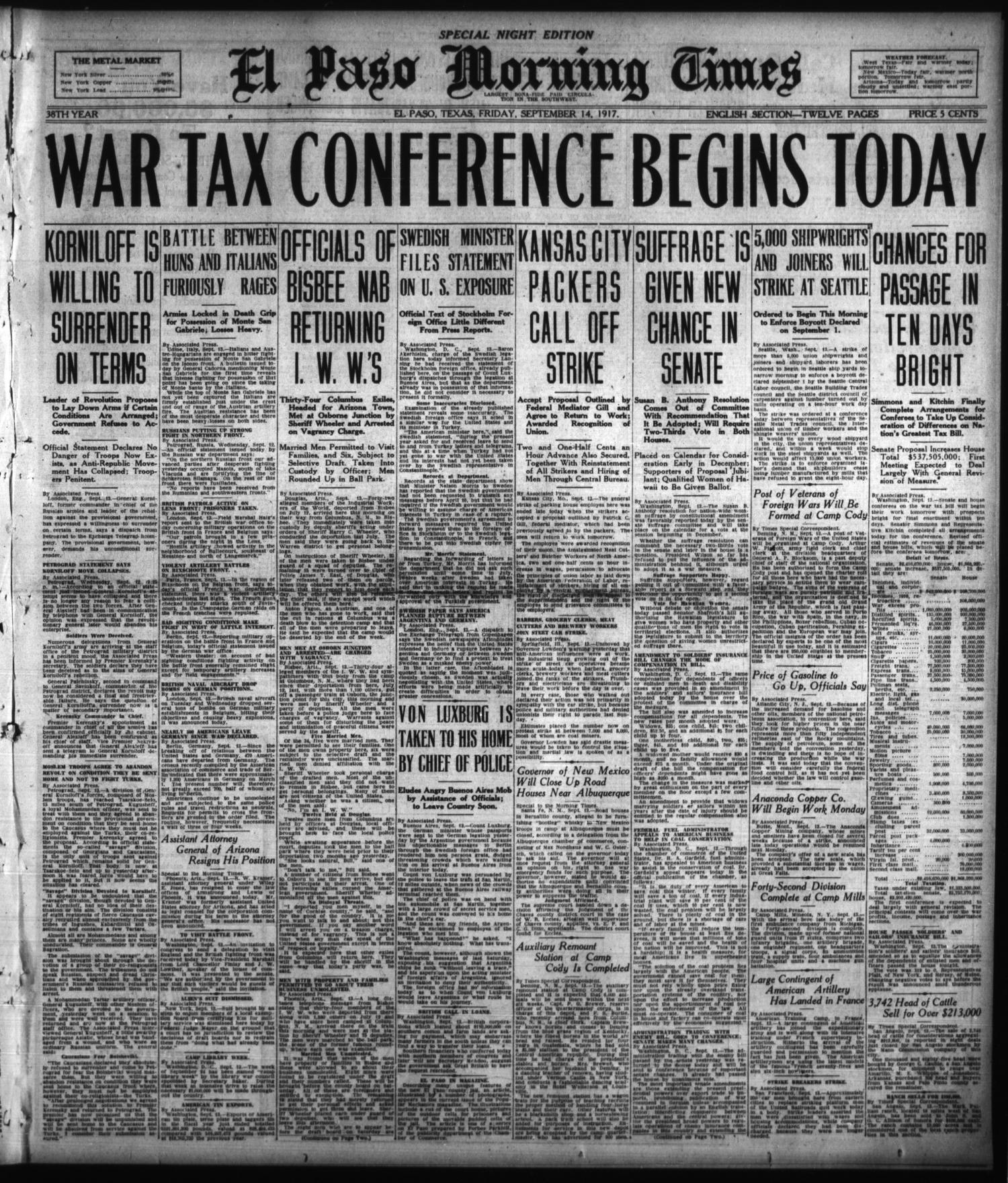 El Paso Morning Times (El Paso, Tex.), Vol. 38TH YEAR, Ed. 2, Friday, September 14, 1917                                                                                                      [Sequence #]: 1 of 12