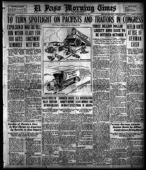 Primary view of object titled 'El Paso Morning Times (El Paso, Tex.), Vol. 38TH YEAR, Ed. 1, Friday, September 28, 1917'.