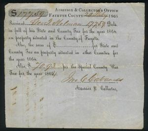 Primary view of object titled 'Tax receipt dated February 20, 1865.'.