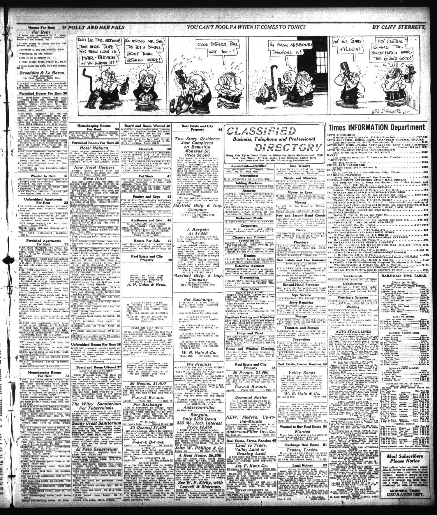 El Paso Morning Times (El Paso, Tex.), Vol. 38TH YEAR, Ed. 2, Monday, January 7, 1918                                                                                                      [Sequence #]: 11 of 12