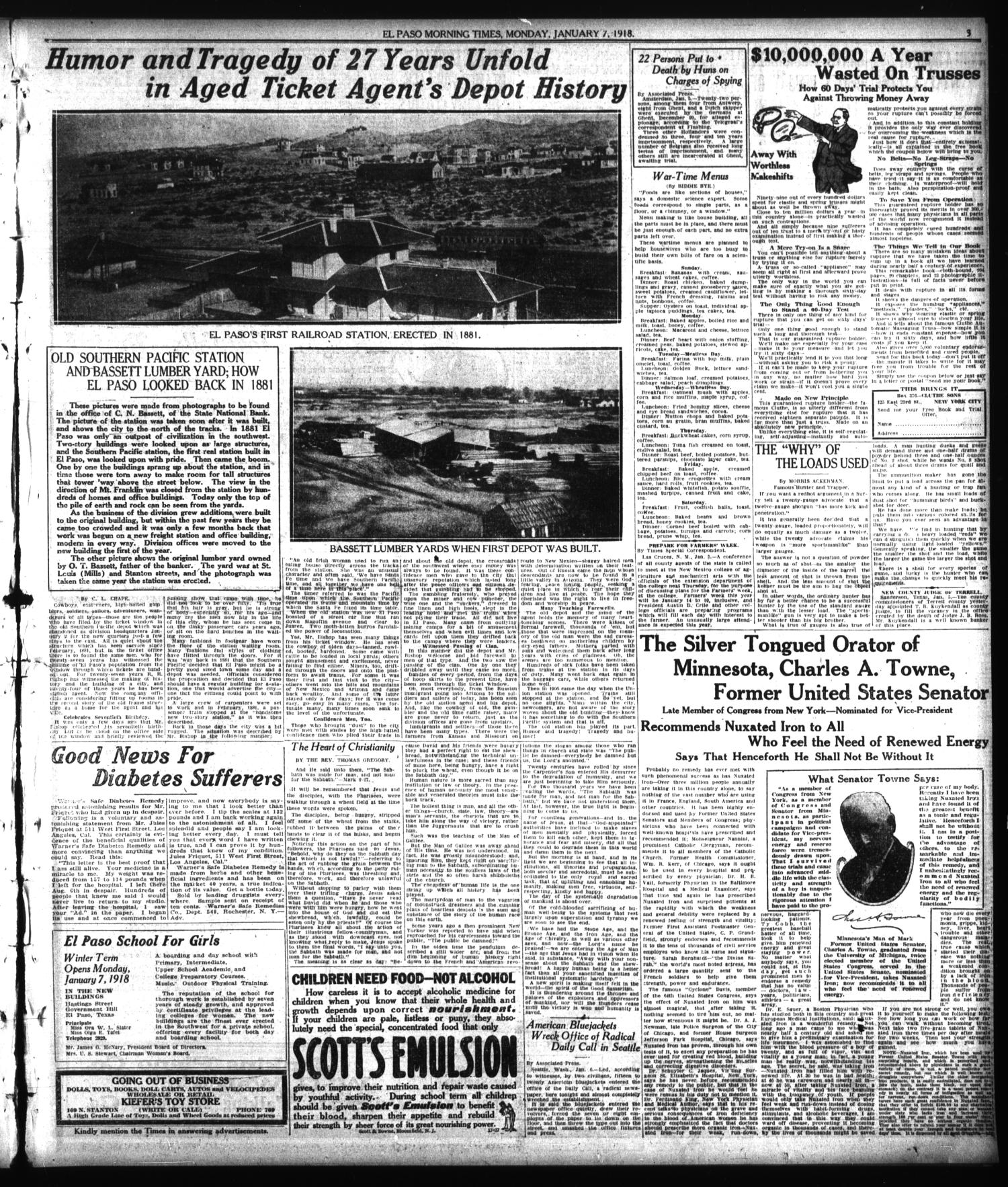El Paso Morning Times (El Paso, Tex.), Vol. 38TH YEAR, Ed. 2, Monday, January 7, 1918                                                                                                      [Sequence #]: 3 of 12