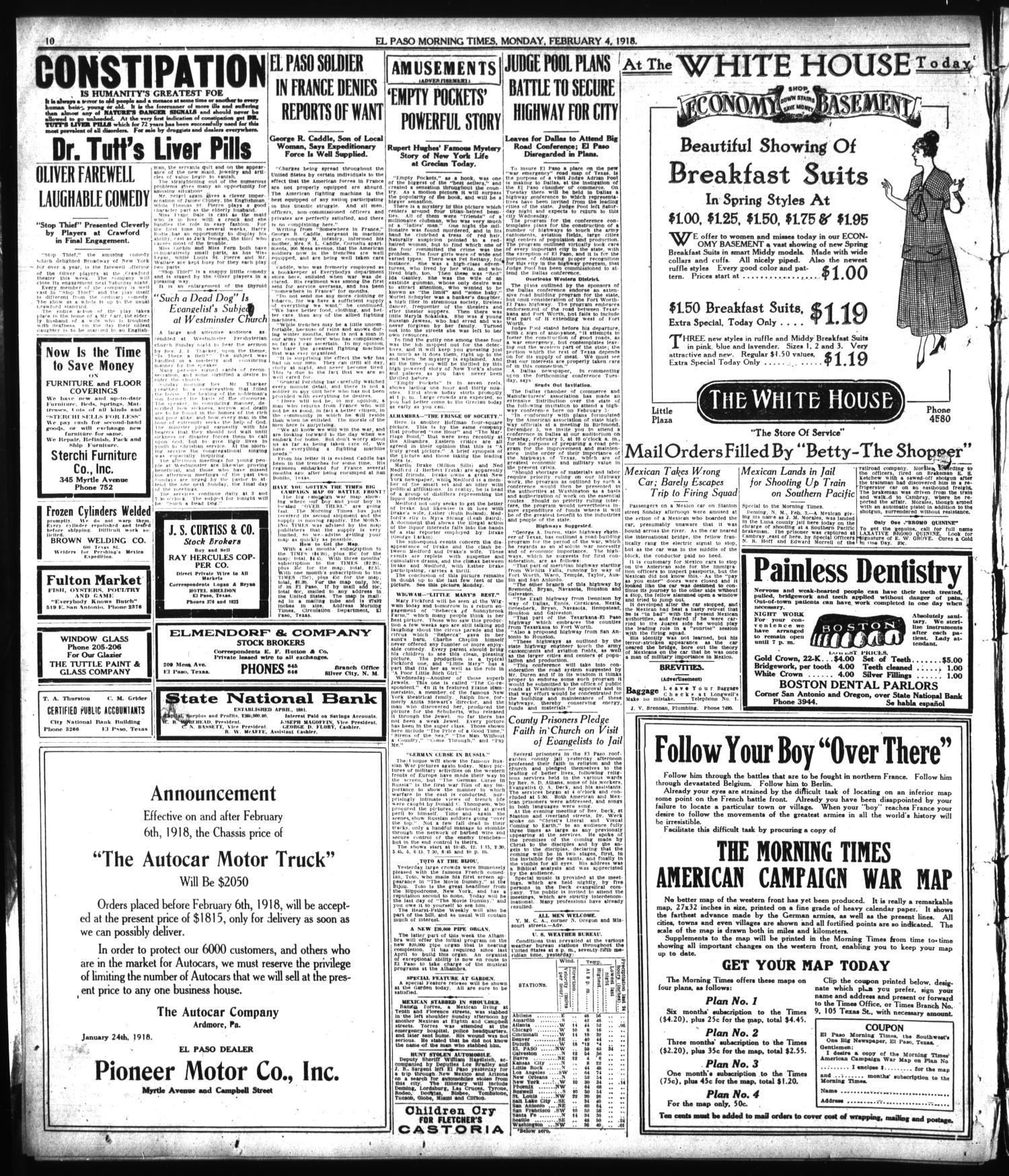 El Paso Morning Times Tex Vol 38th Year Ed 1 Monday Niion Lunar Running Black February 4 1918 Page 10 Of The Portal To Texas History