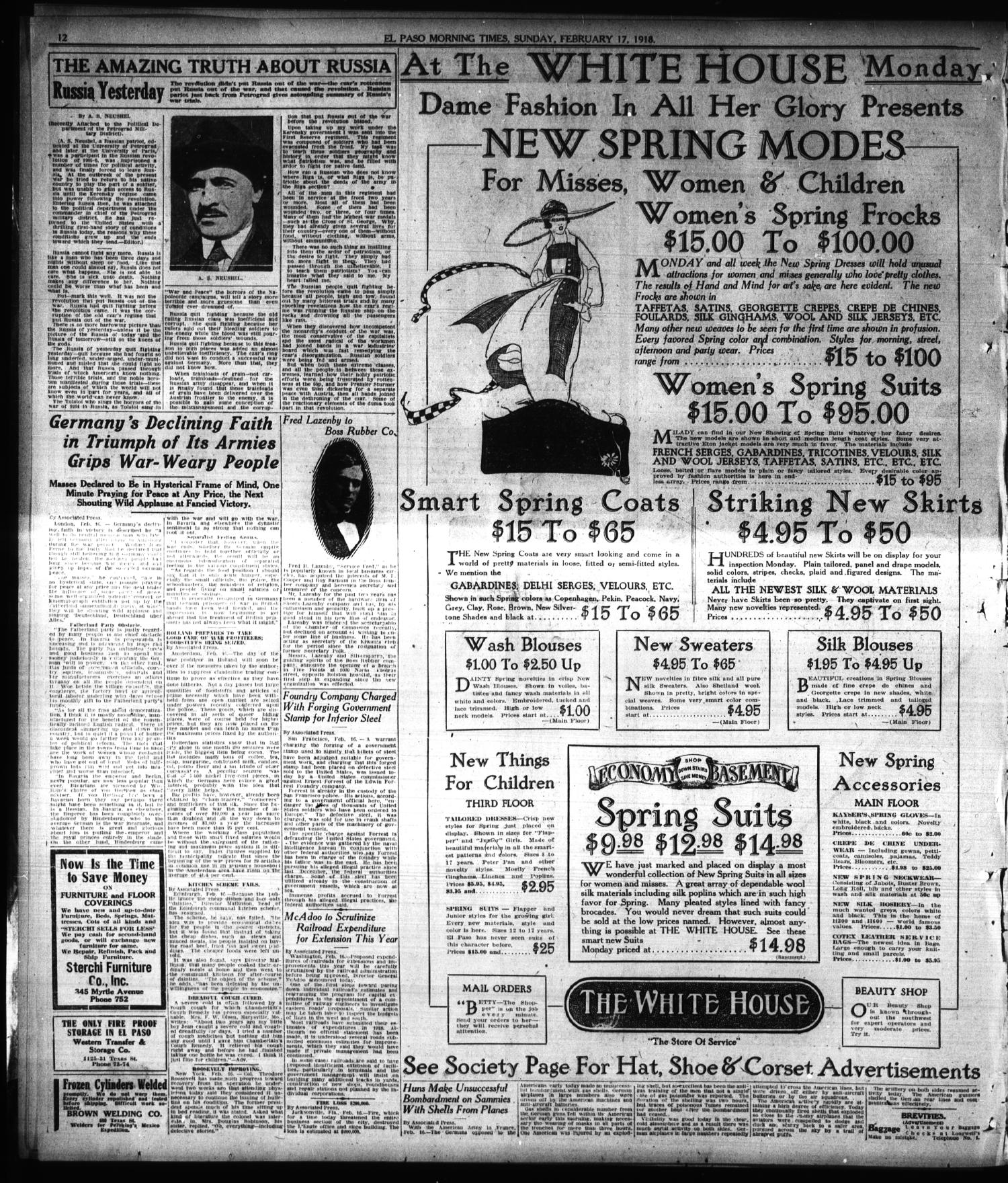 El Paso Morning Times Tex Vol 38th Year Ed 1 Sunday Alra Hb New Havana February 17 1918 Page 12 Of 34 The Portal To Texas History
