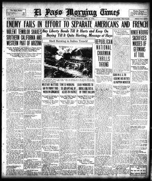 Primary view of object titled 'El Paso Morning Times (El Paso, Tex.), Vol. 38TH YEAR, Ed. 1, Monday, April 22, 1918'.