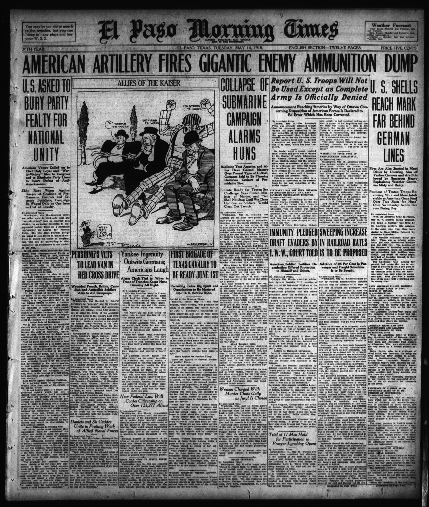 El Paso Morning Times (El Paso, Tex.), Vol. 38TH YEAR, Ed. 1, Tuesday, May 14, 1918                                                                                                      [Sequence #]: 1 of 12