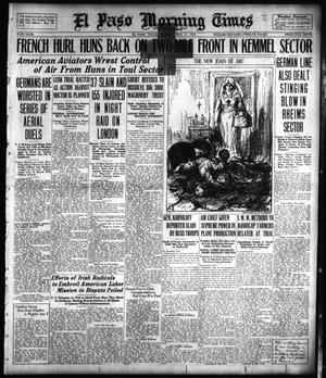 Primary view of object titled 'El Paso Morning Times (El Paso, Tex.), Vol. 38TH YEAR, Ed. 1, Tuesday, May 21, 1918'.