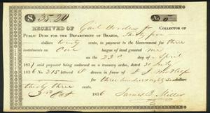 Primary view of object titled '[Land payment receipt signed by J.B. Miller]'.