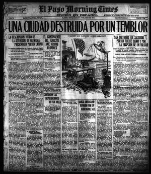 Primary view of object titled 'El Paso Morning Times (El Paso, Tex.), Vol. 36TH YEAR, Ed. 1, Saturday, June 9, 1917'.