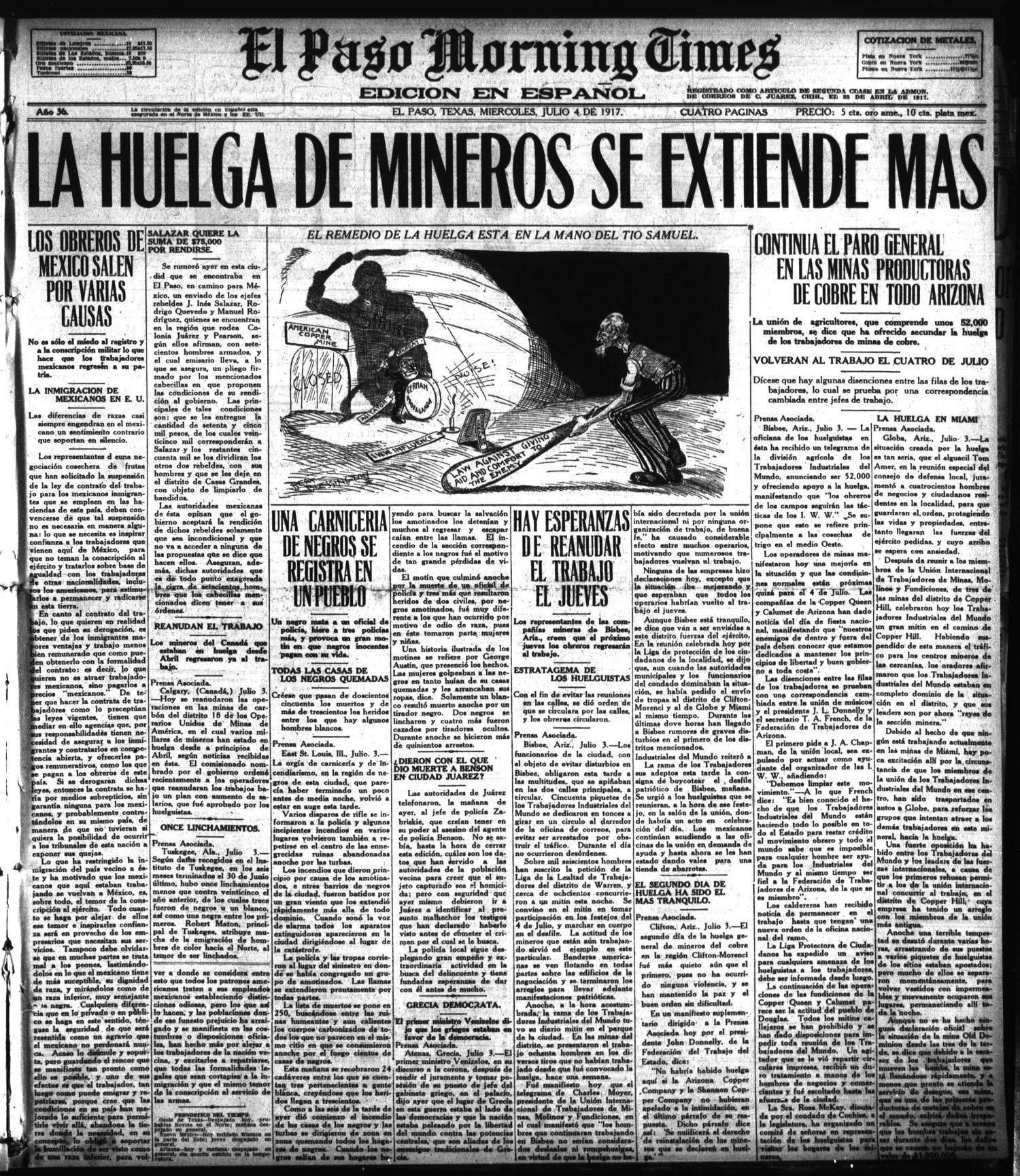 El Paso Morning Times (El Paso, Tex.), Vol. 36TH YEAR, Ed. 1, Wednesday, July 4, 1917                                                                                                      [Sequence #]: 1 of 4