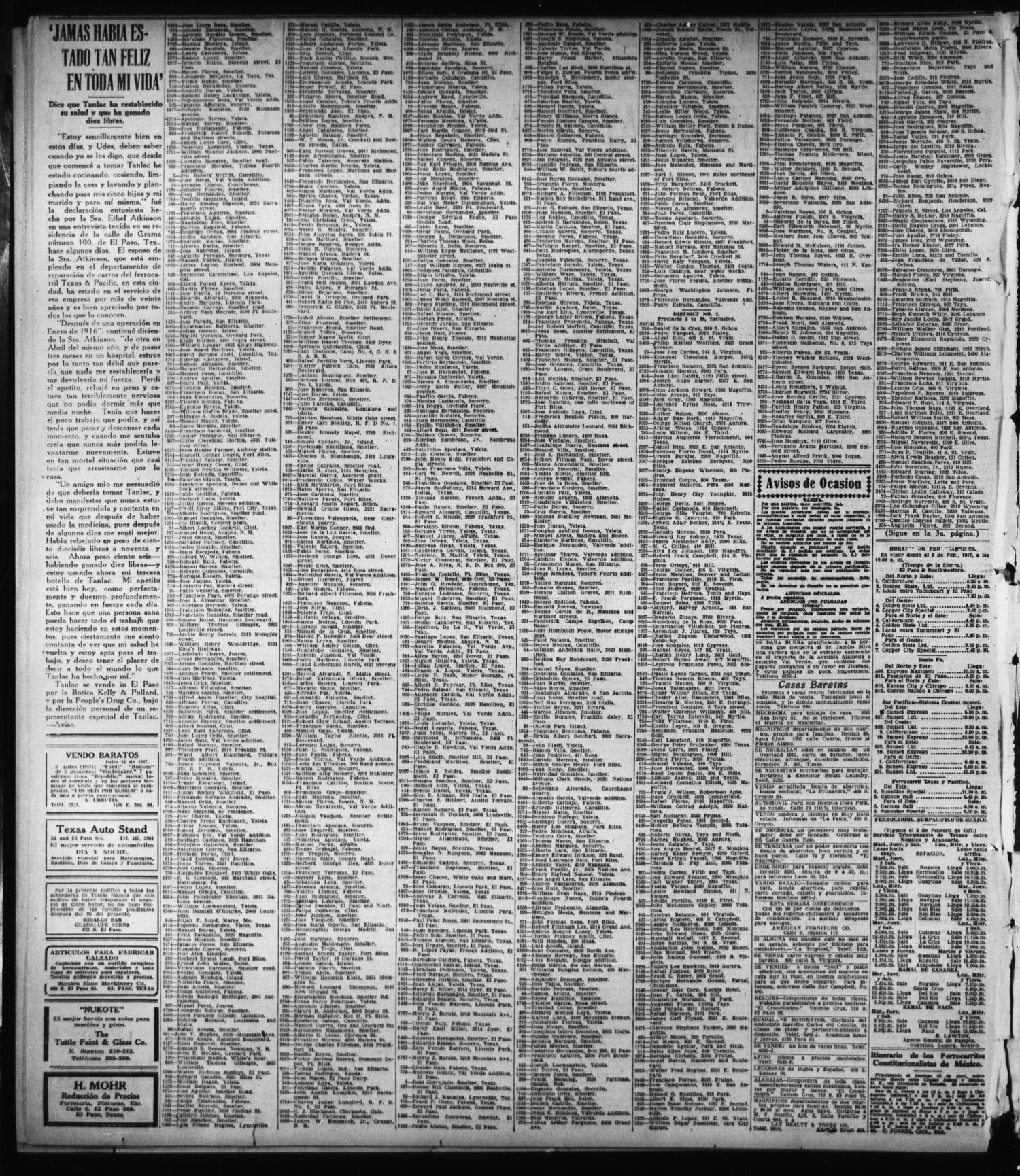 El Paso Morning Times El Paso Tex Vol 36th Year Ed 1  # Muebles Linea Huno