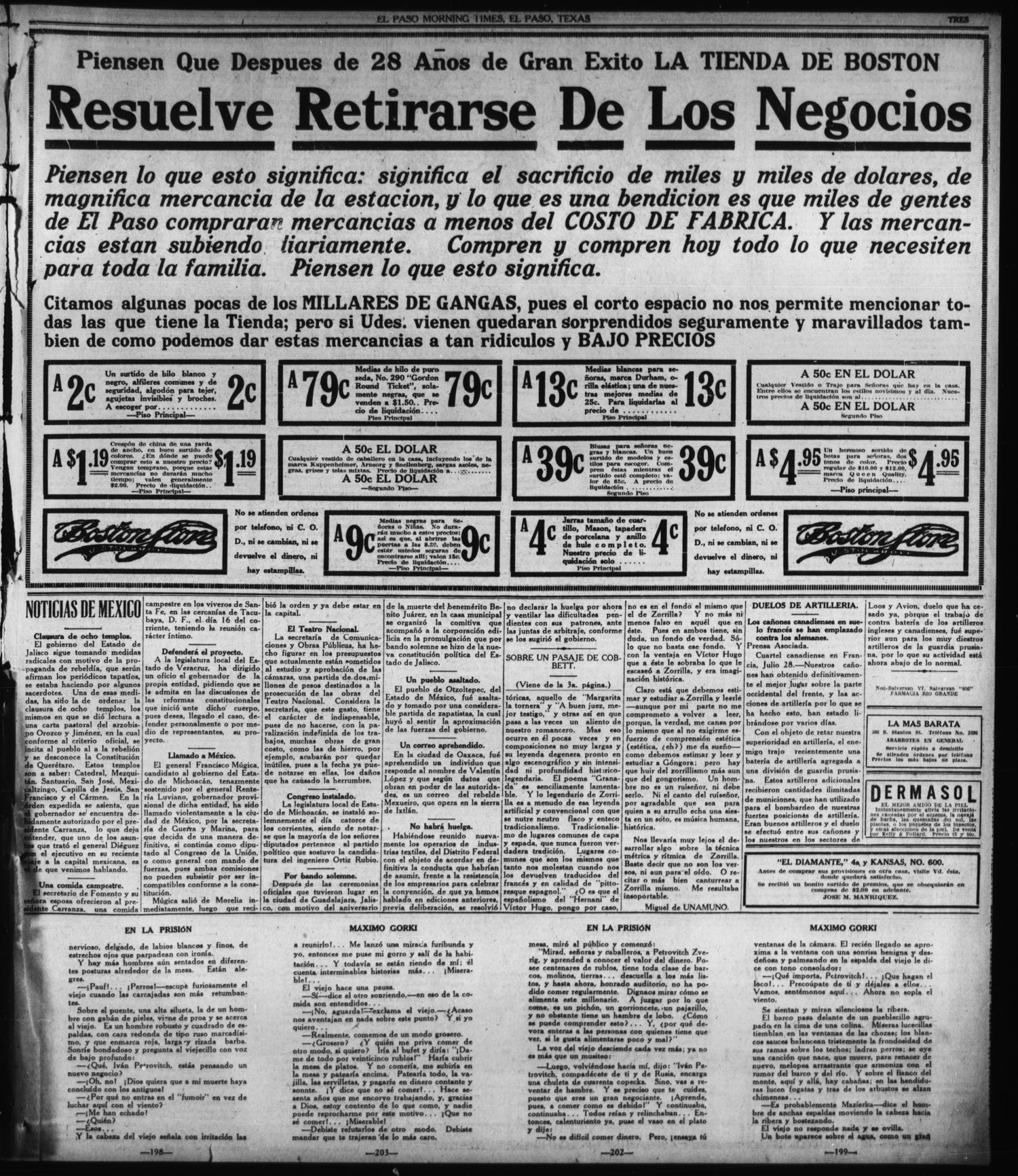 El Paso Morning Times (El Paso, Tex.), Vol. 36TH YEAR, Ed. 1, Sunday, July 29, 1917                                                                                                      [Sequence #]: 3 of 6