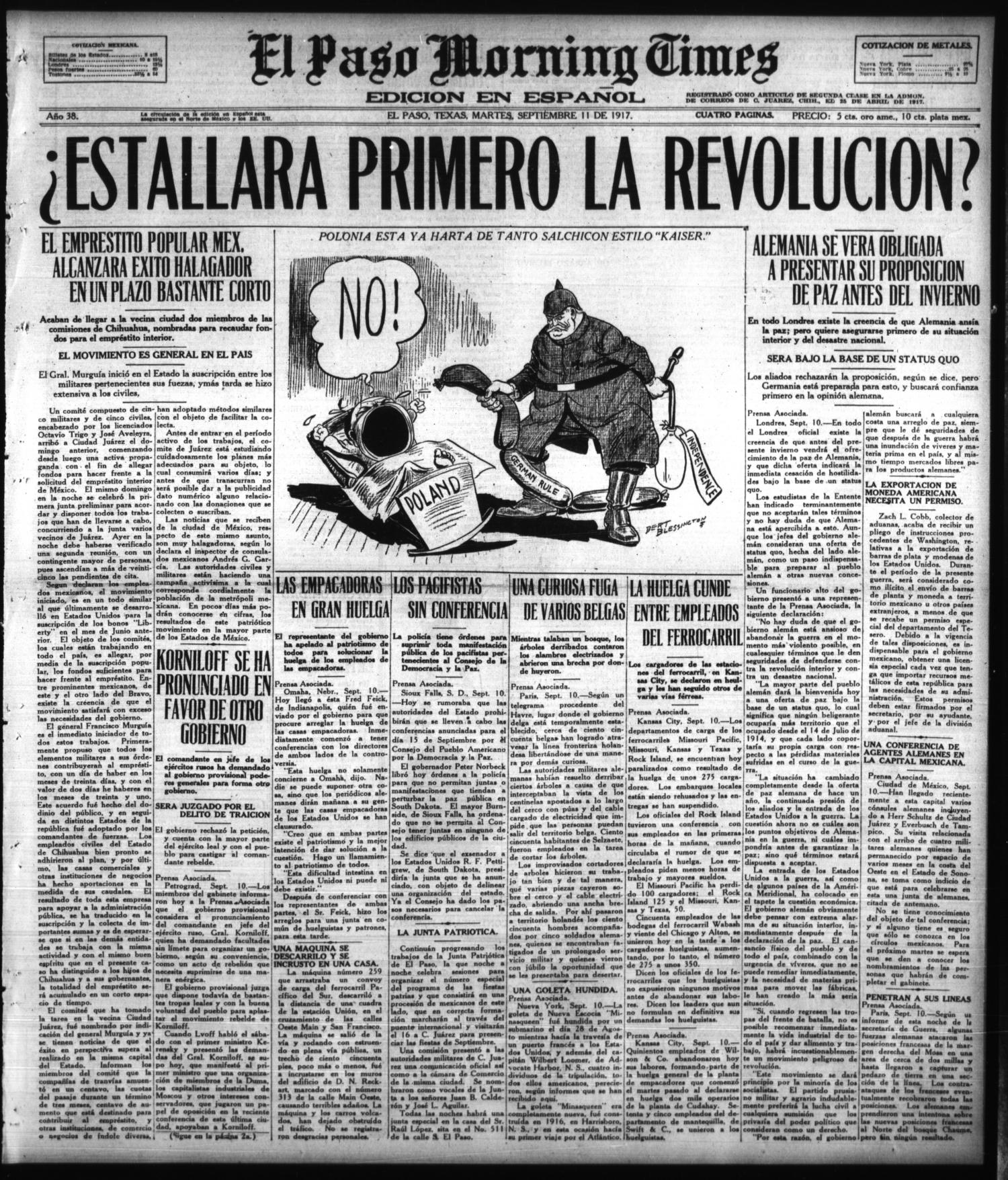 El Paso Morning Times (El Paso, Tex.), Vol. 38TH YEAR, Ed. 1, Tuesday, September 11, 1917                                                                                                      [Sequence #]: 1 of 4