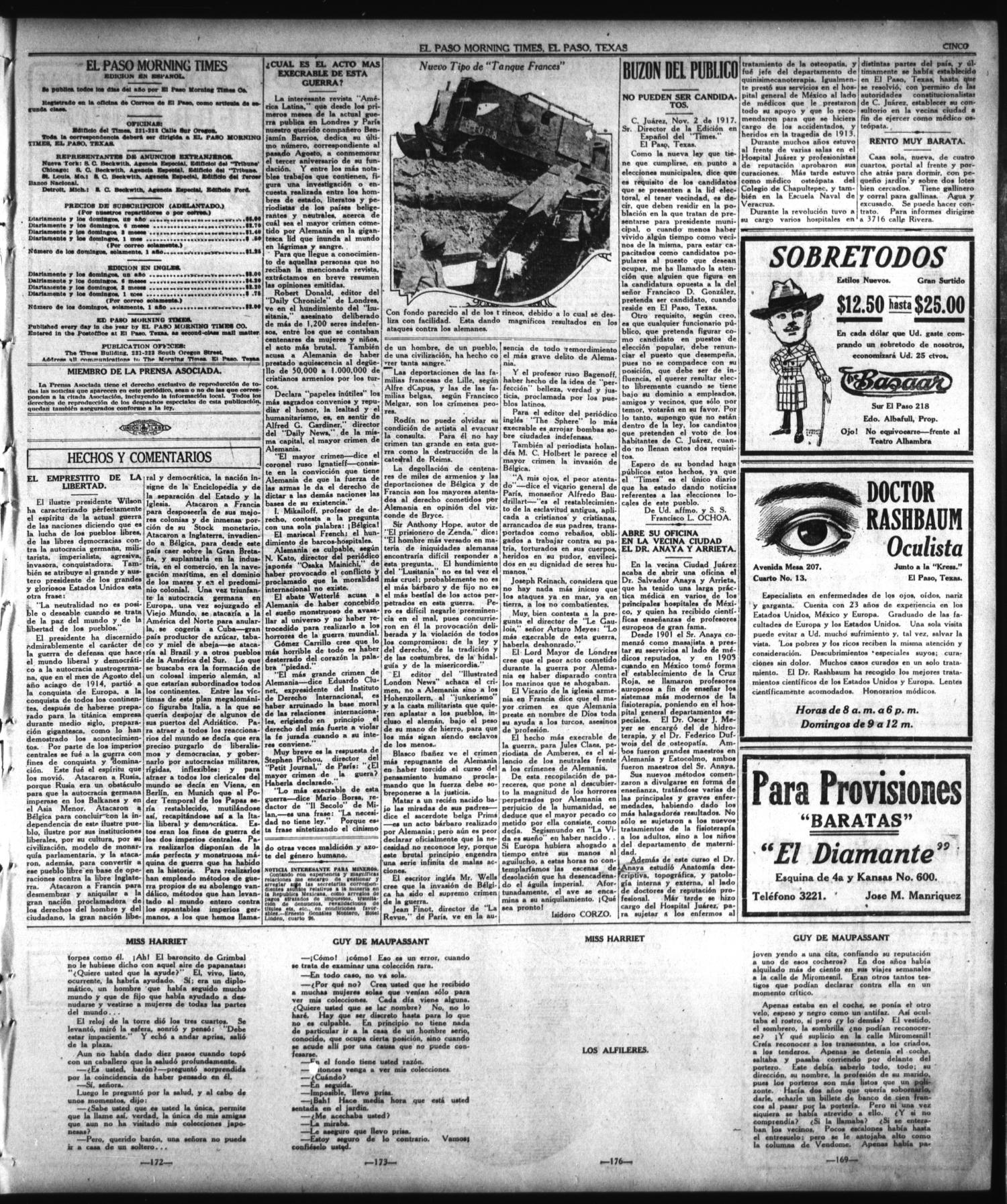 El Paso Morning Times (El Paso, Tex.), Vol. 38TH YEAR, Ed. 1, Sunday ...