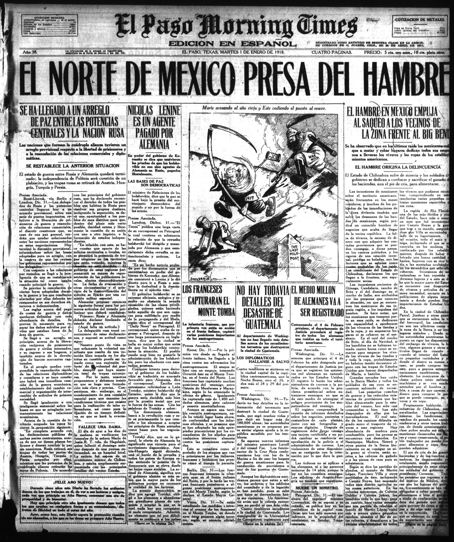 El Paso Morning Times (El Paso, Tex.), Vol. 38TH YEAR, Ed. 1, Tuesday, January 1, 1918                                                                                                      [Sequence #]: 1 of 4