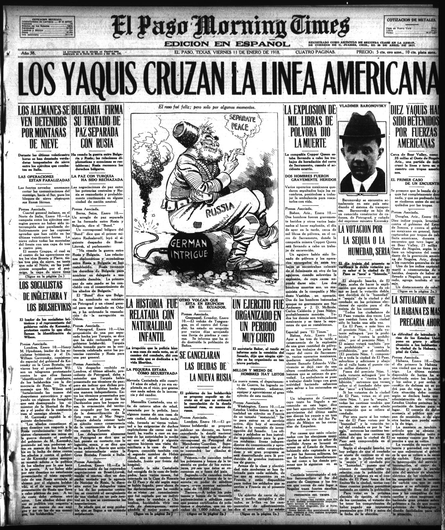 El Paso Morning Times (El Paso, Tex.), Vol. 38TH YEAR, Ed. 1, Friday, January 11, 1918                                                                                                      [Sequence #]: 1 of 4