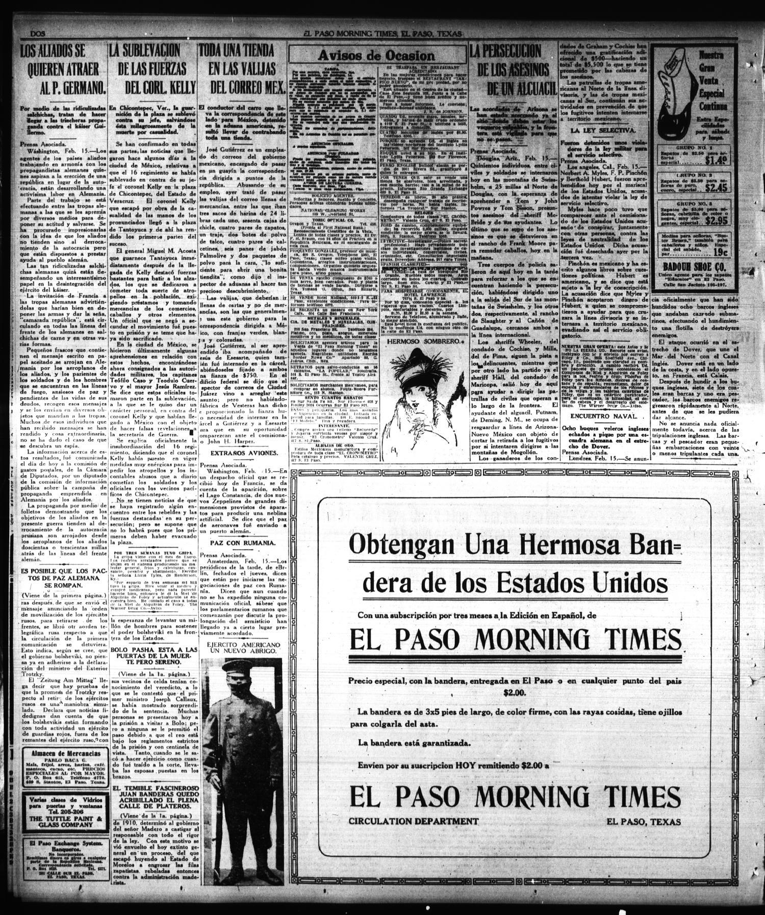 El Paso Morning Times El Paso Tex Vol 38th Year Ed 1  # Muebles Gutierrez Cortes De La Frontera