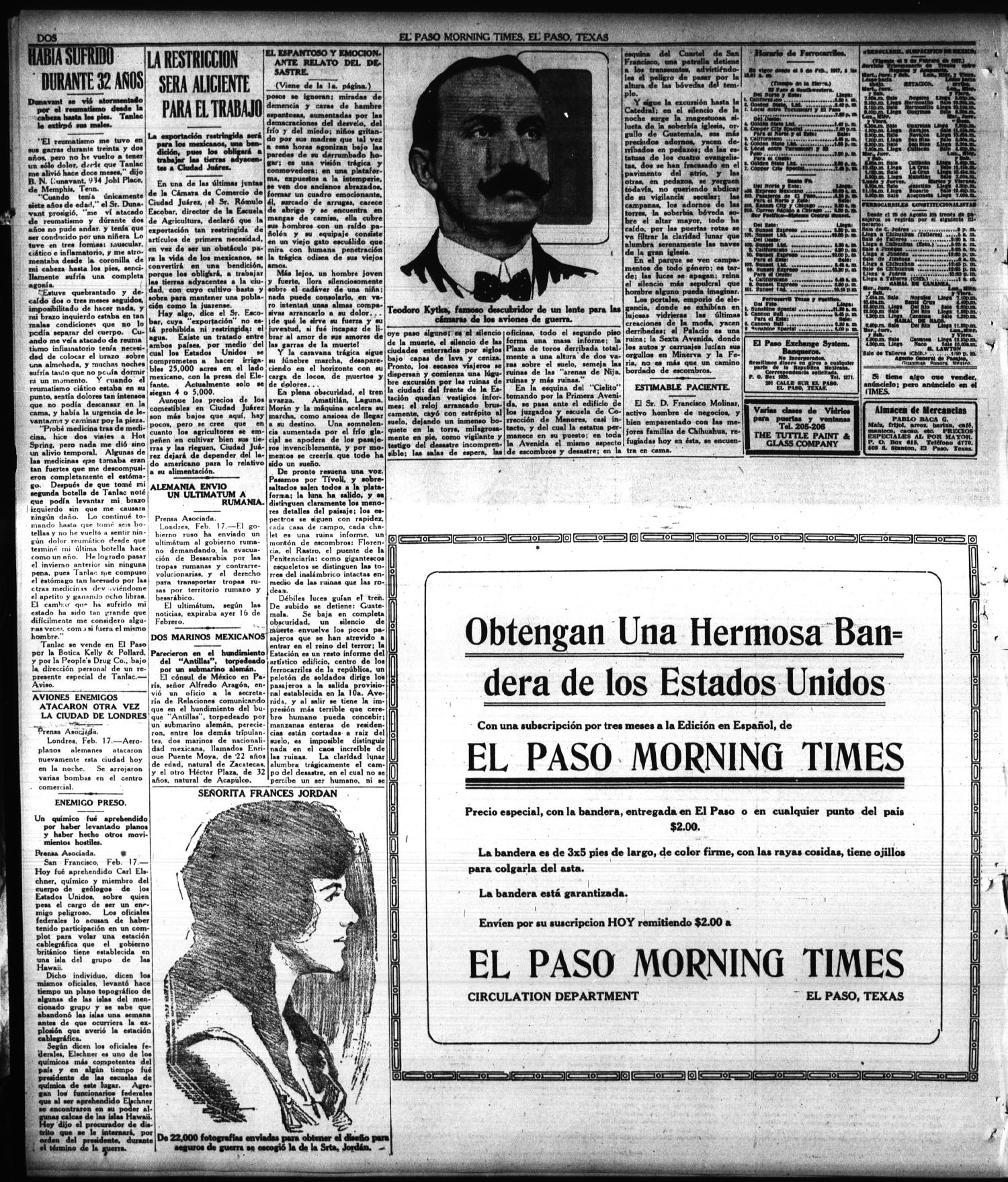 El Paso Morning Times (El Paso, Tex.), Vol. 38TH YEAR, Ed. 1, Monday, February 18, 1918                                                                                                      [Sequence #]: 2 of 4