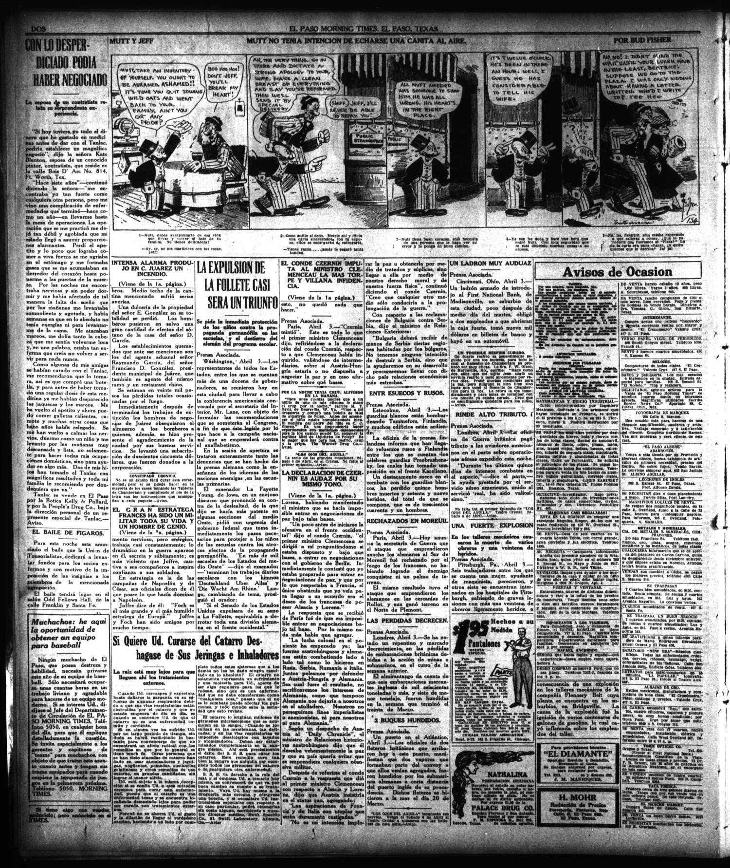 El Paso Morning Times (El Paso, Tex.), Vol. 38TH YEAR, Ed. 1, Thursday, April 4, 1918                                                                                                      [Sequence #]: 2 of 4