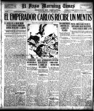 Primary view of object titled 'El Paso Morning Times (El Paso, Tex.), Vol. 38TH YEAR, Ed. 1, Saturday, April 13, 1918'.