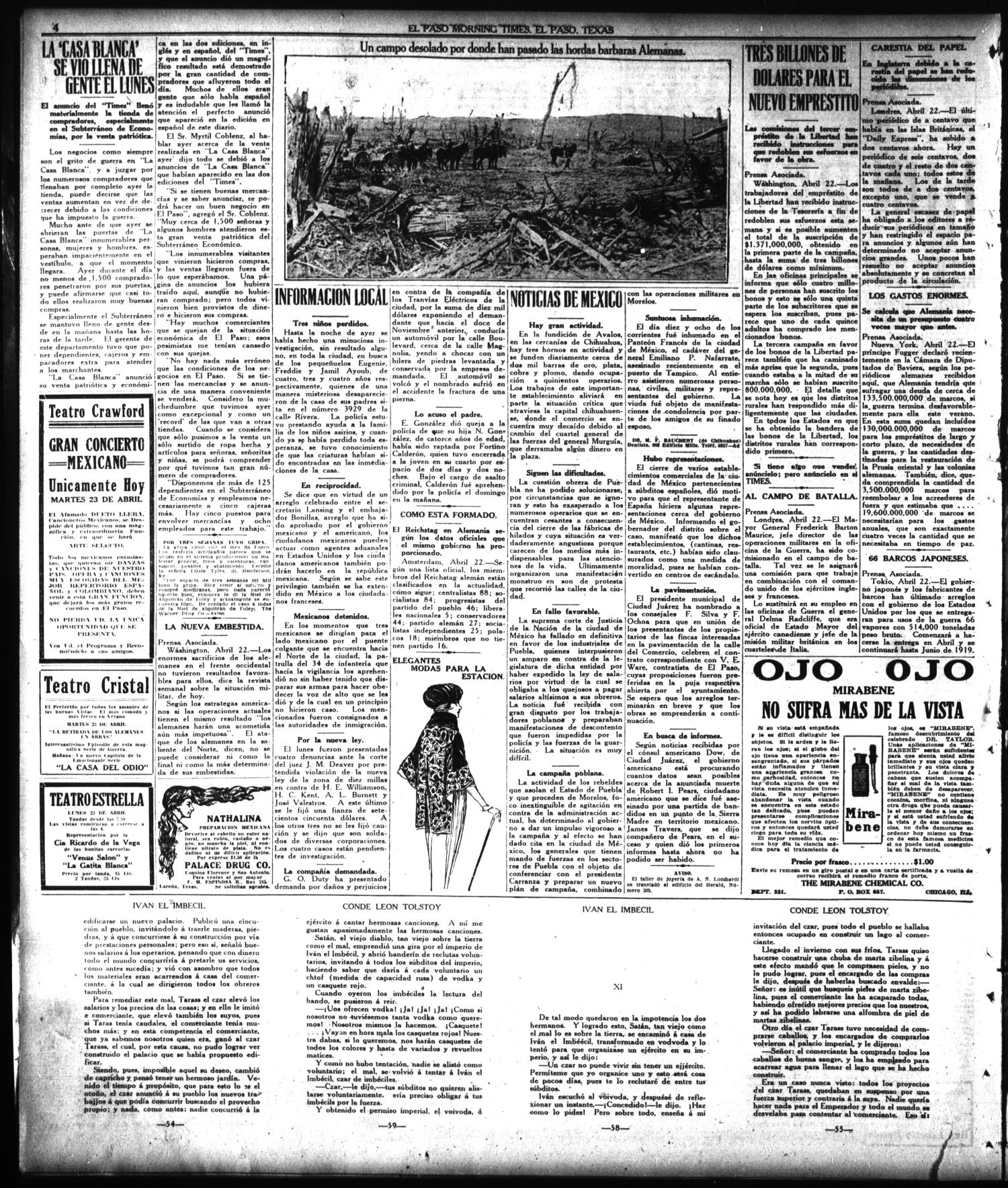 El Paso Morning Times (El Paso, Tex.), Vol. 38TH YEAR, Ed. 1, Tuesday, April 23, 1918                                                                                                      [Sequence #]: 4 of 4