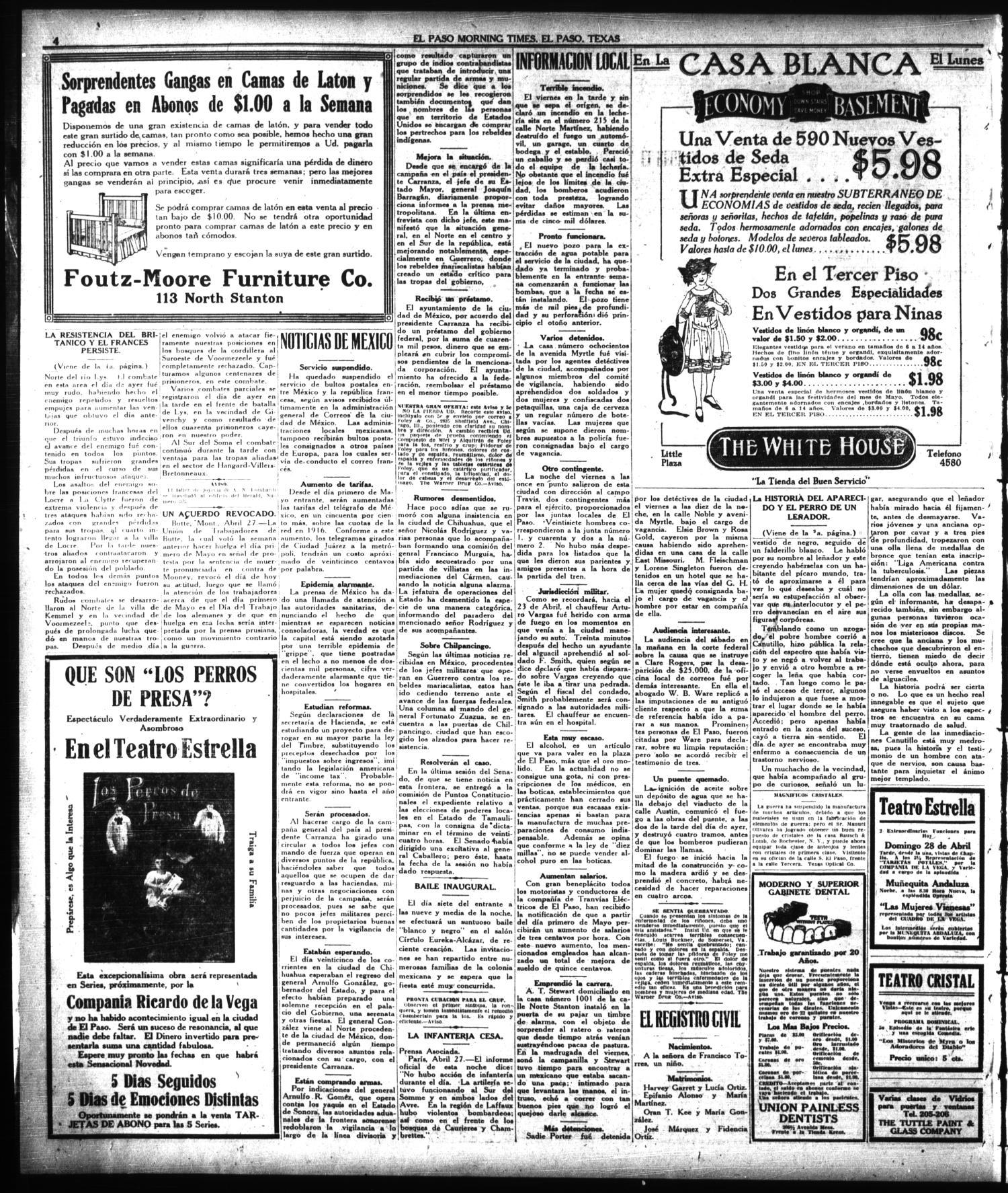 El Paso Morning Times El Paso Tex Vol 38th Year Ed 1