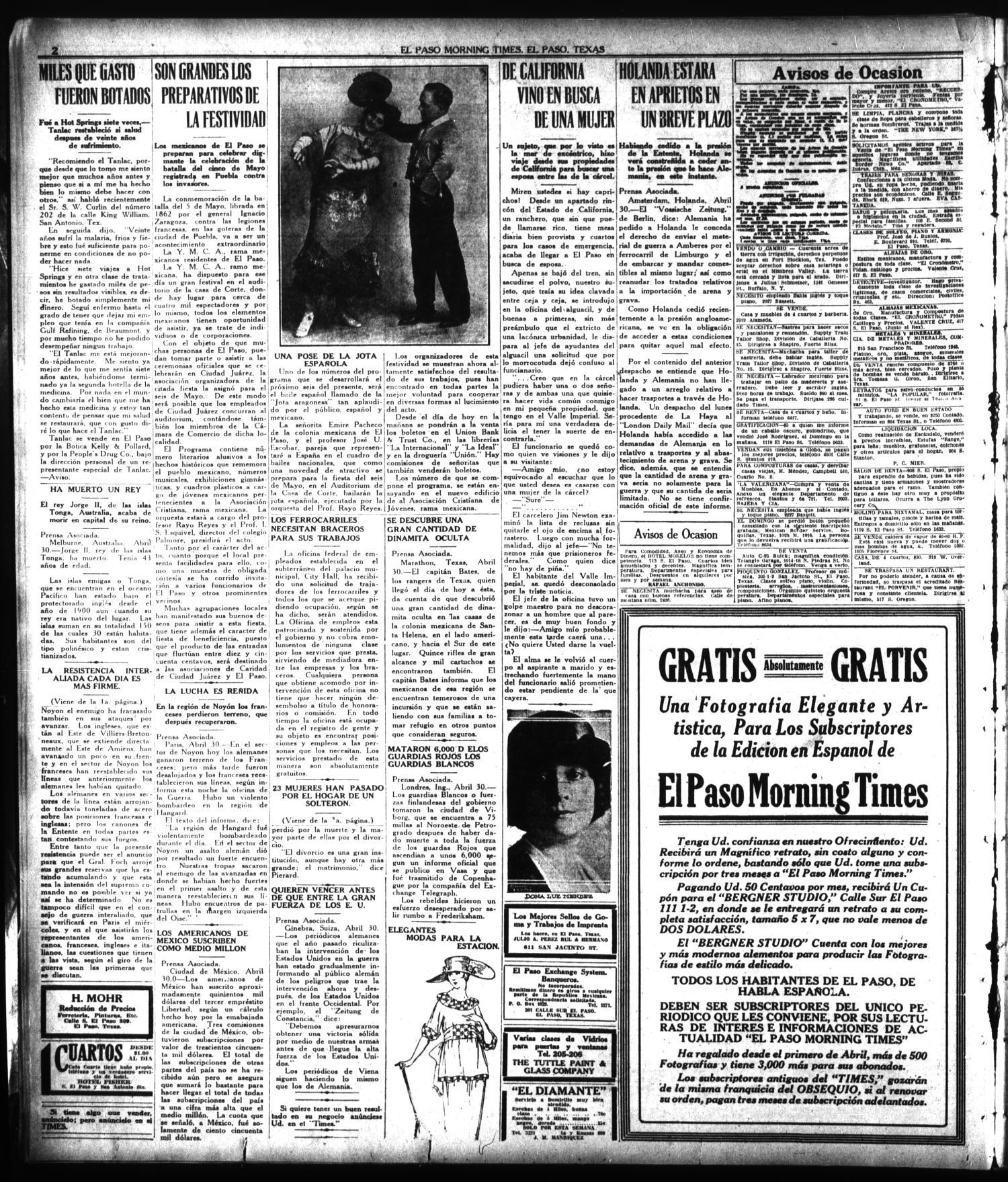 El Paso Morning Times El Paso Tex Vol 38th Year Ed 1  # Muebles Rial Asados