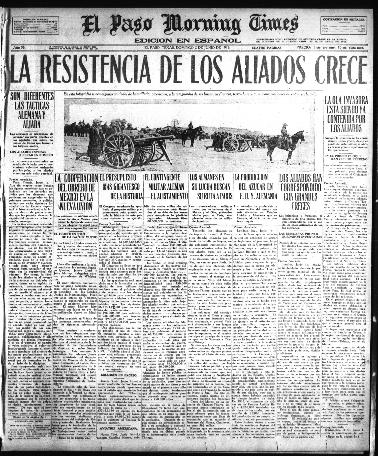 El Paso Morning Times (El Paso, Tex.), Vol. 38TH YEAR, Ed. 1, Sunday, June 2, 1918                                                                                                      [Sequence #]: 1 of 4