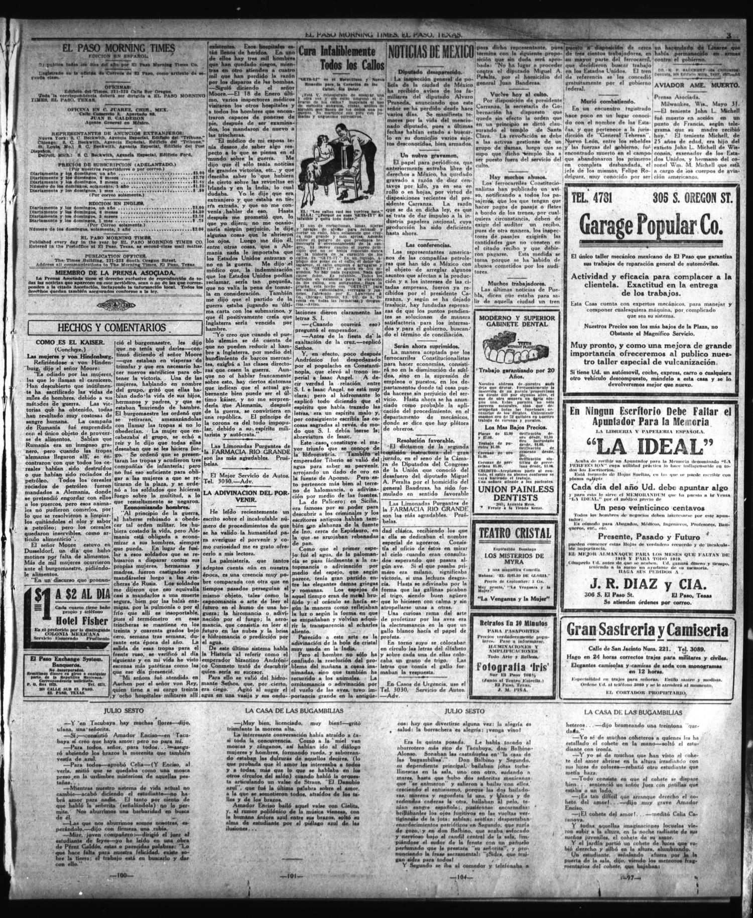 El Paso Morning Times (El Paso, Tex.), Vol. 38TH YEAR, Ed. 1, Sunday, June 2, 1918                                                                                                      [Sequence #]: 3 of 4