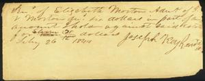 Primary view of object titled '[Receipt of Joseph Kuykendall]'.