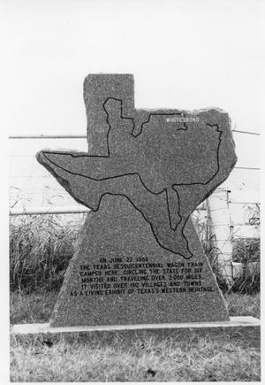 Primary view of object titled 'Texas Sesquicentennial Wagon Train in Whitesboro with 3000-Mile Stone Marker'.