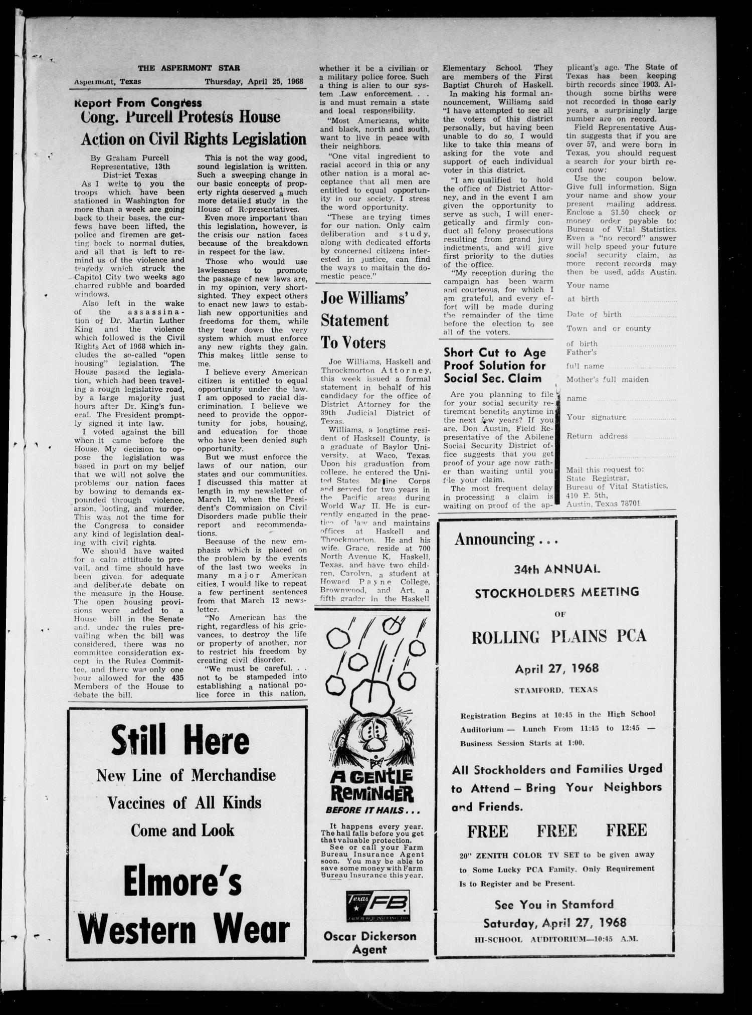 The Aspermont Star (Aspermont, Tex.), Vol. 70, No. 35, Ed. 1 Thursday, April 25, 1968                                                                                                      [Sequence #]: 3 of 8