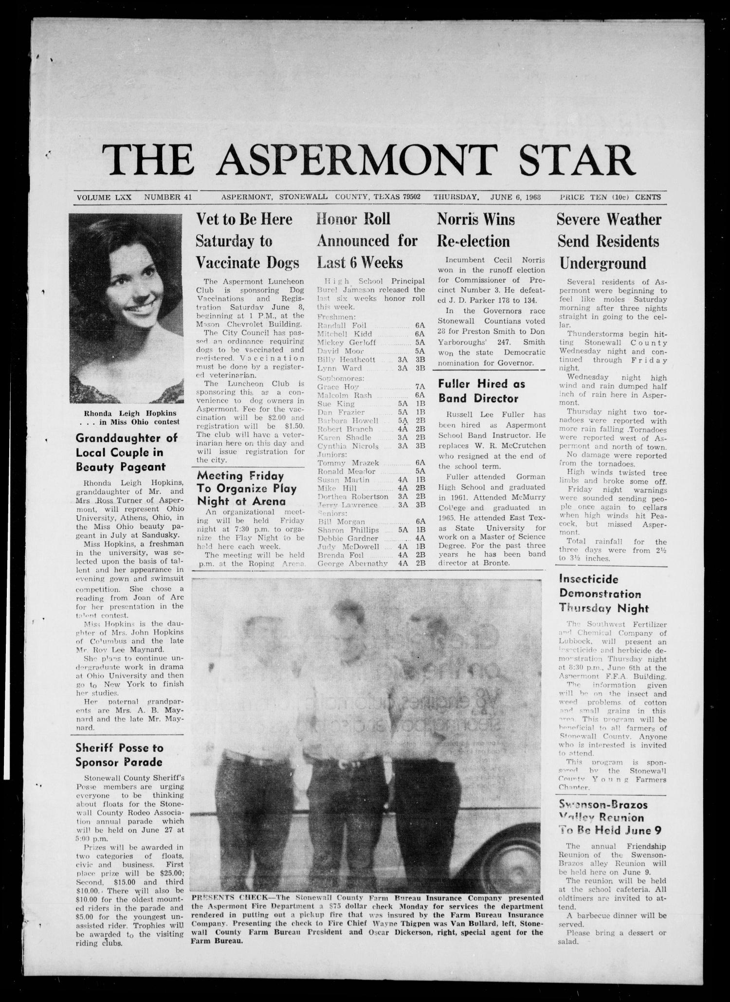 The Aspermont Star (Aspermont, Tex.), Vol. 70, No. 41, Ed. 1 Thursday, June 6, 1968                                                                                                      [Sequence #]: 1 of 8