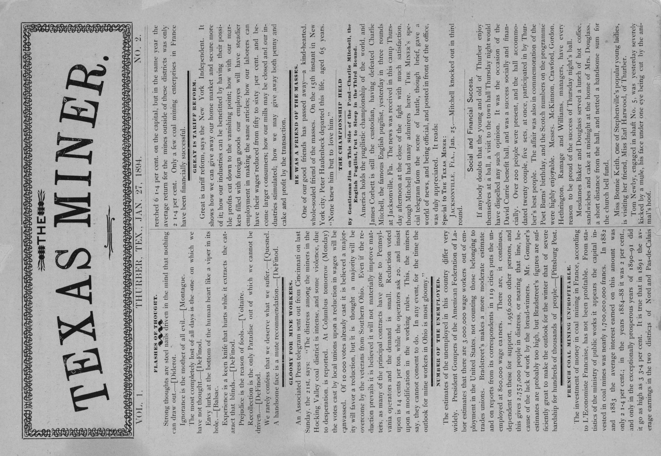 The Texas Miner, Volume 1, Number 2, January 27, 1894                                                                                                      1