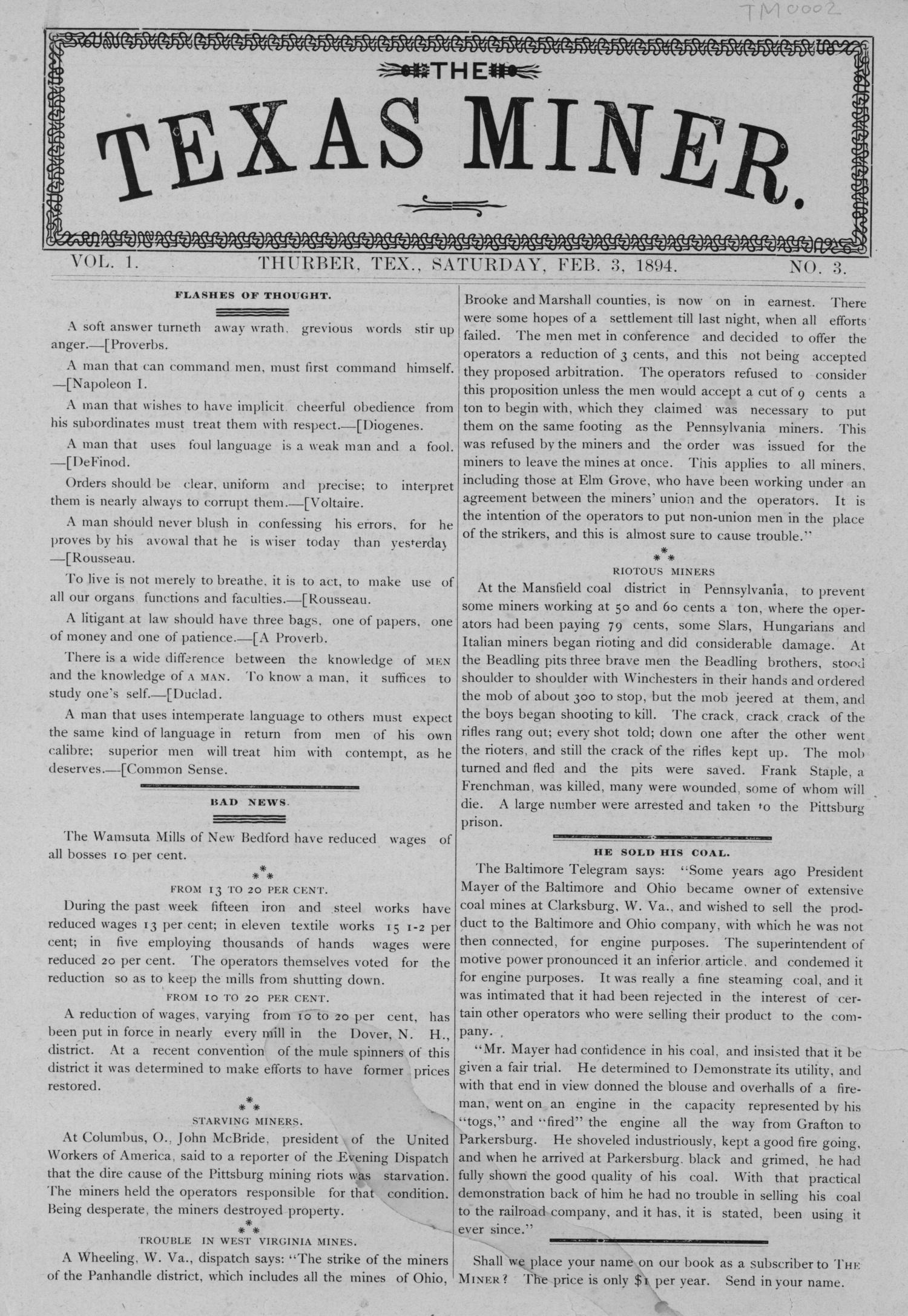 The Texas Miner, Volume 1, Number 3, February 3, 1894                                                                                                      1