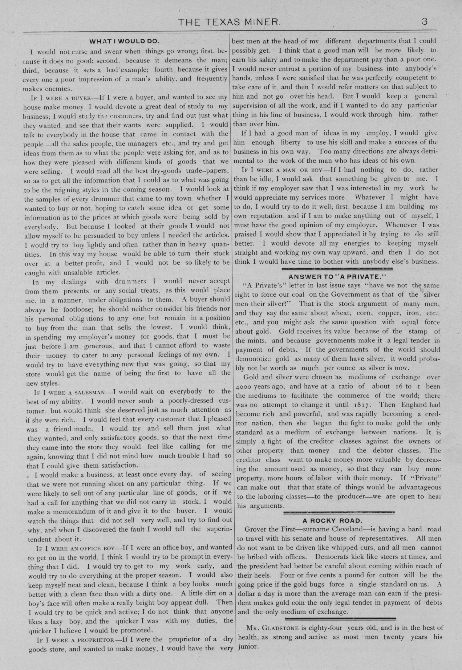 The Texas Miner, Volume 1, Number 3, February 3, 1894                                                                                                      3