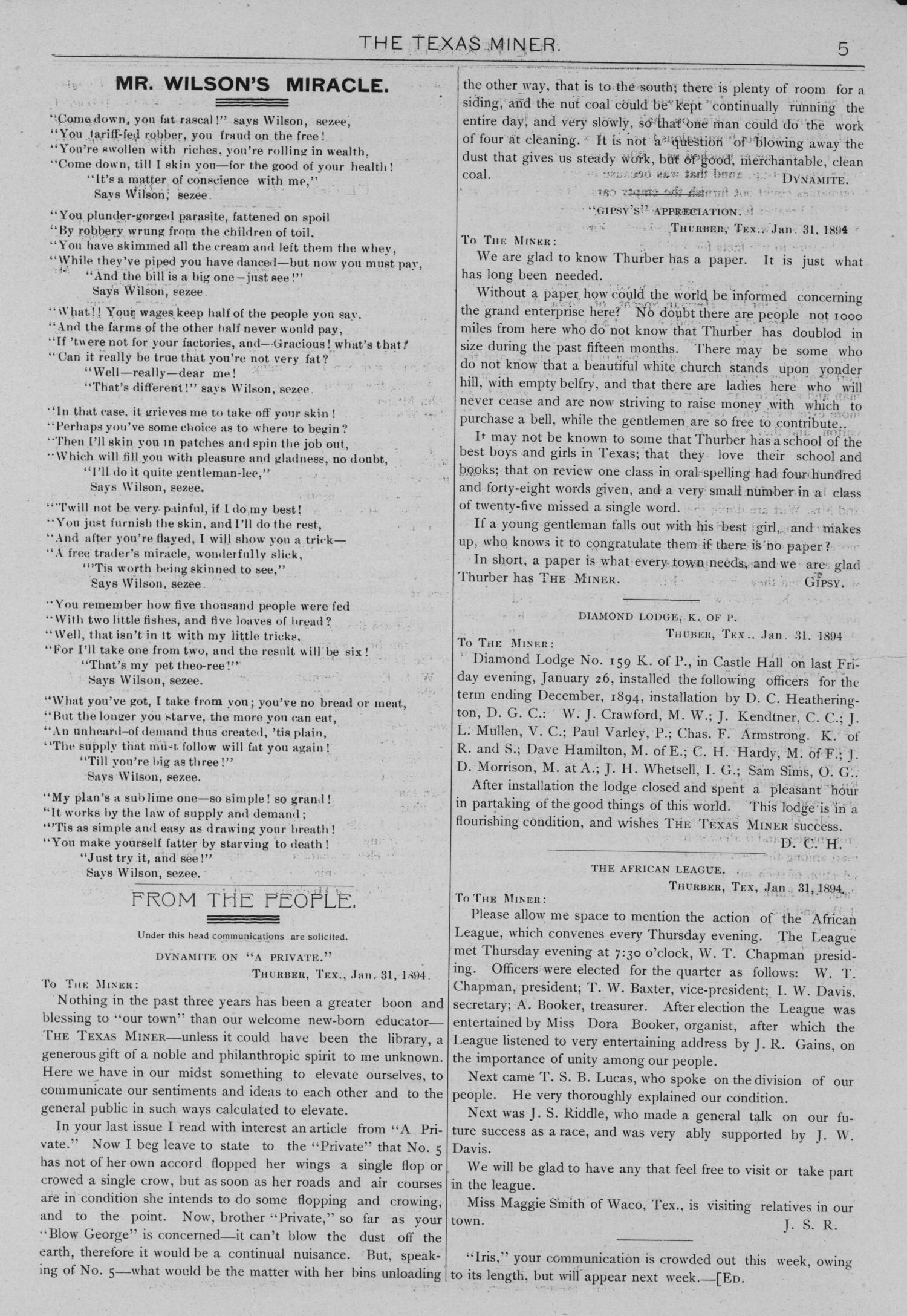 The Texas Miner, Volume 1, Number 3, February 3, 1894                                                                                                      5